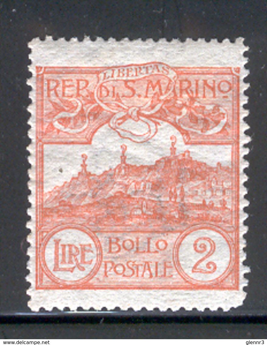 SAN MARINO 1921 2 L Mt. Titano Scott Cat. No(s). 73 MH - Unused Stamps