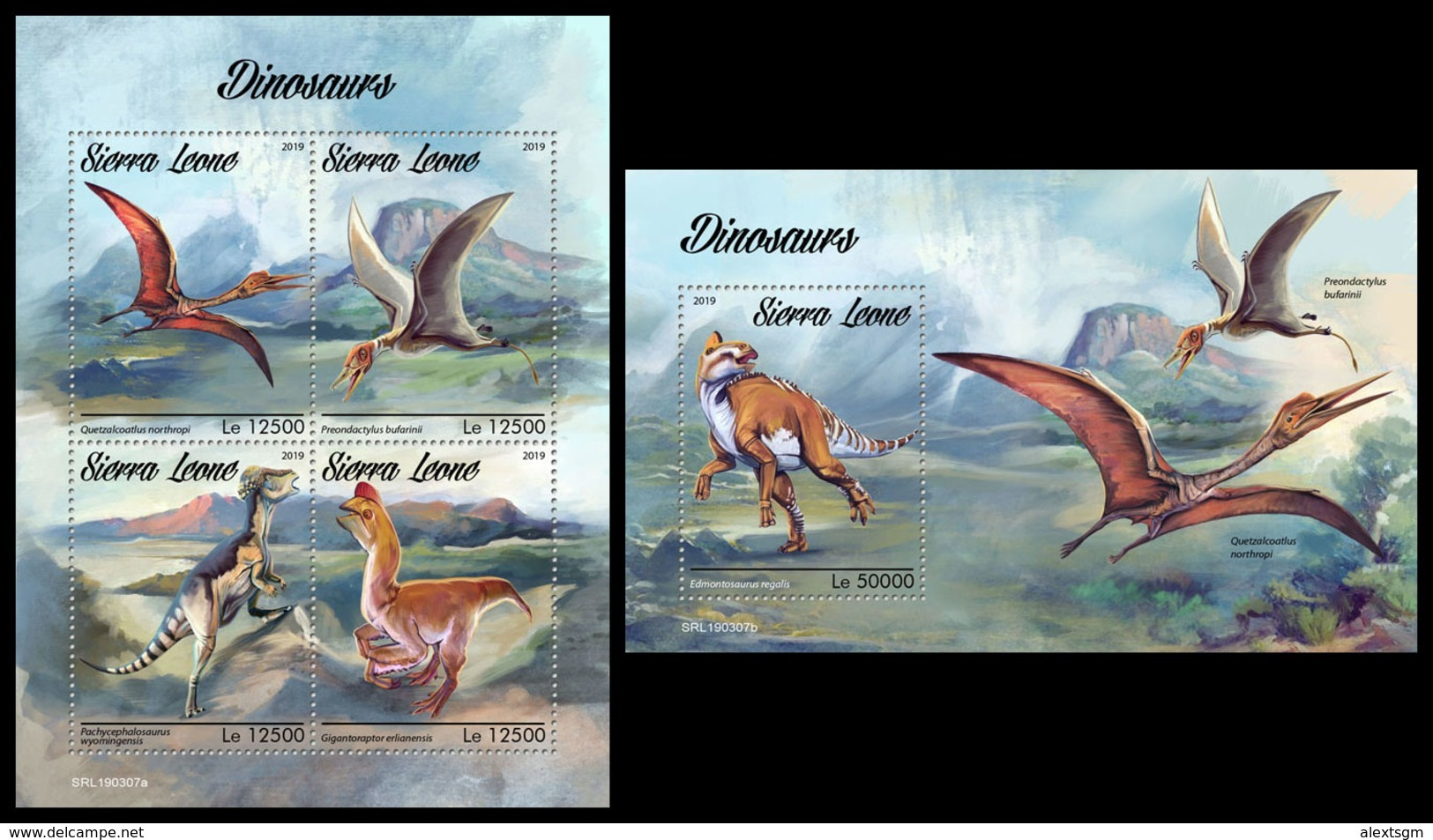 SIERRA LEONE 2019 - Dinosaurs. M/S + S/S Official Issue. - Prehistorisch