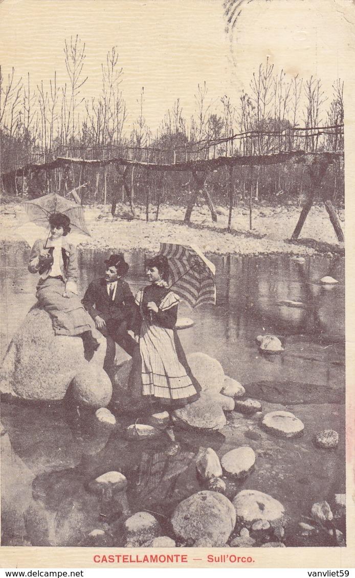 CASTELLAMONTE-TORINO-SULL'ORCO-IN DOLCE COMPAGNIA-CARTOLINA VIAGGIATA IL 9-9-1910 - Otros
