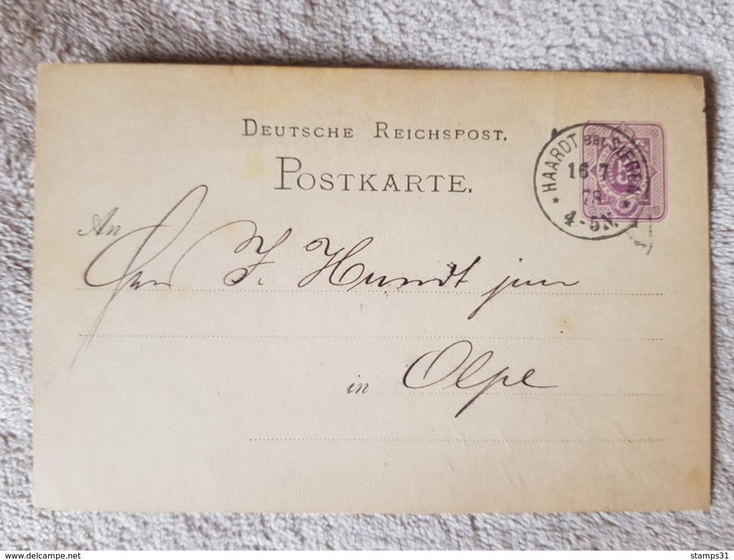 Deutsches Reich Ganzsache Postkarte Haardt Bei Siegen Nach Olpe 16.7.1878 - Brieven En Documenten