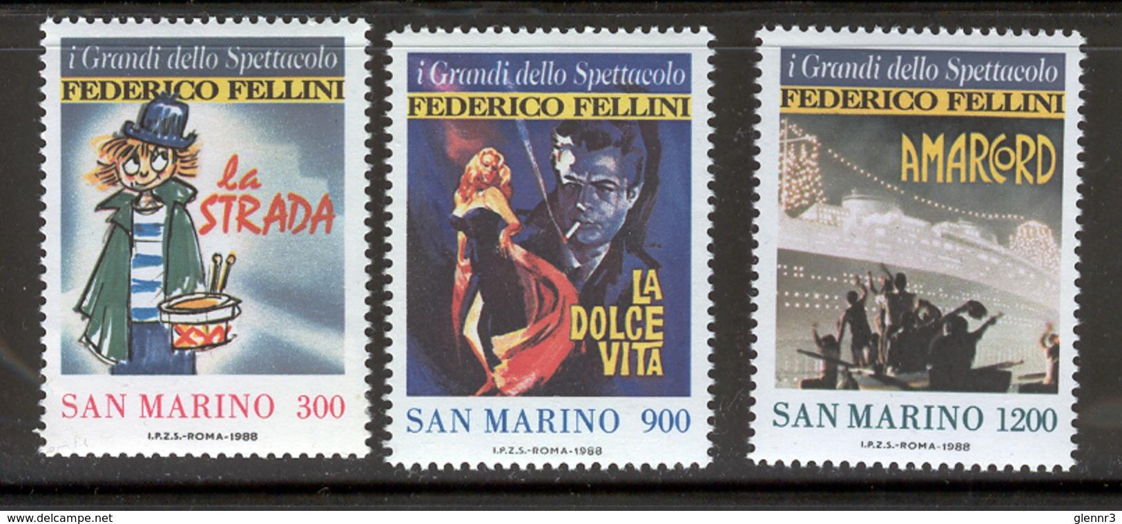 SAN MARINO 1988 Federico Fellini Film Posters Scott Cat. No(s). 1157-1159 MNH - Unused Stamps