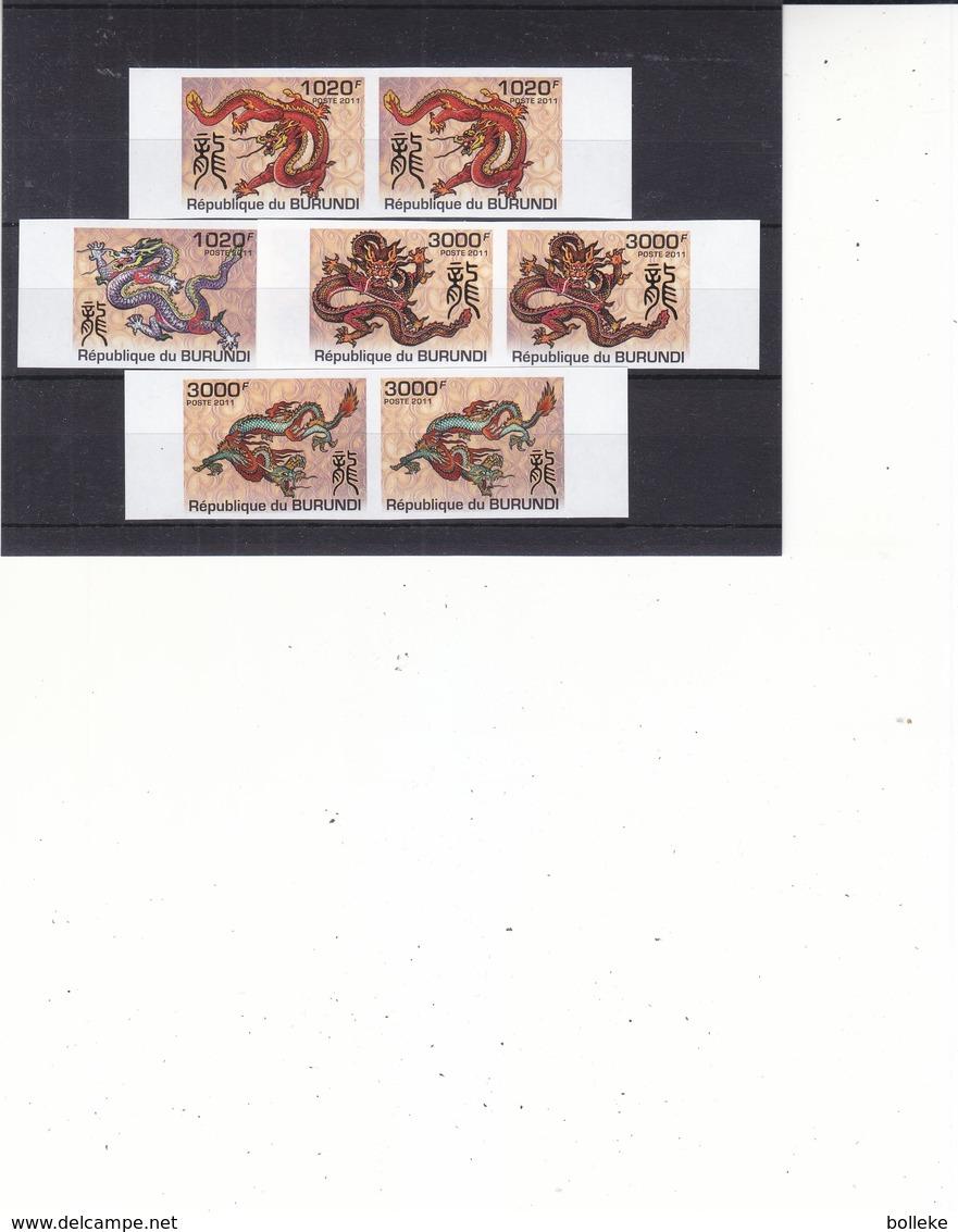 Dragons - Burundi - COB 1414 / 17 ** - MNH - NON Dentelé En Paire - Valeur 74 Euros - Burundi