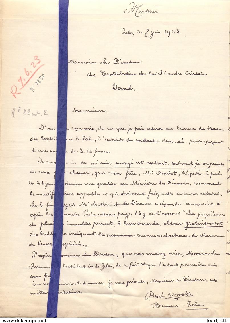 Brief Lettre - Brasseur Brouwer René Amelot - Zele - Naar Kadaster 1923 + Brief Met Antwoord - Vieux Papiers