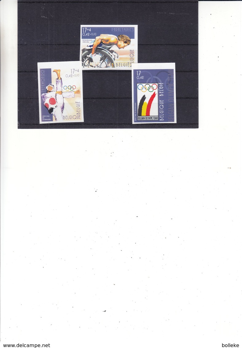 Jeux Olympiques - Belgique - COB 2908 / 10 - NON Dentelé - Taekwondo - Paralympics - Valeur 45 € - Sommer 2000: Sydney - Paralympics