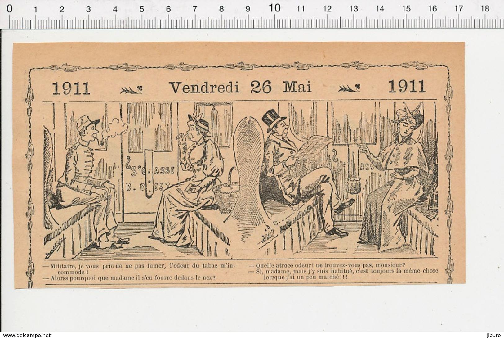 2 Scans Humour Wagon Compartiment Voyageurs Train Chemin De Fer Voyage Tabac à Priser Généalogie Belleriche 226K - Vieux Papiers