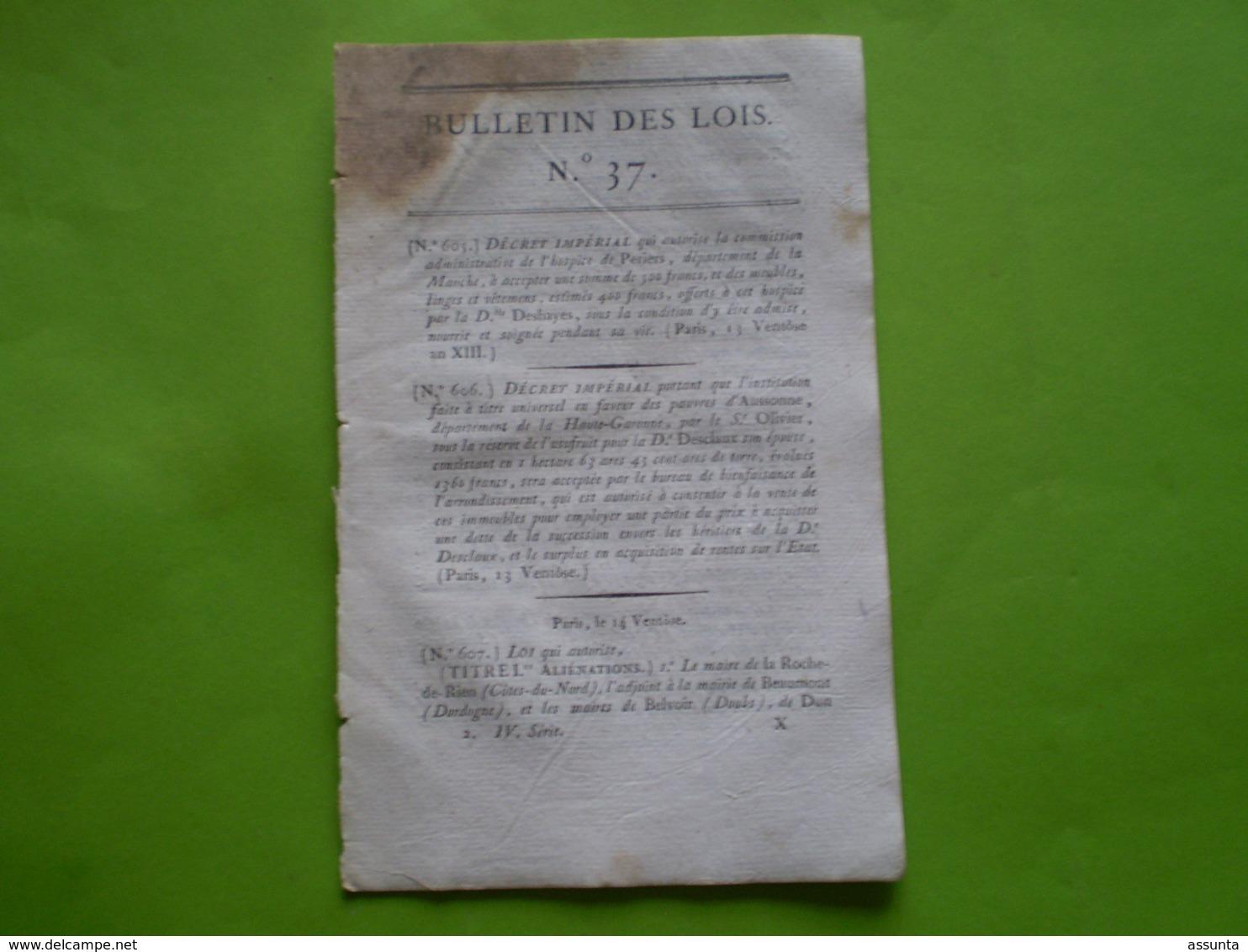 Napoléon An XIII:Timbres & Sceaux De L'Empire.Liste Des Routes Où Les Maîtres De Poste Sont Chargés Des Malles Aller Ret - Decreti & Leggi