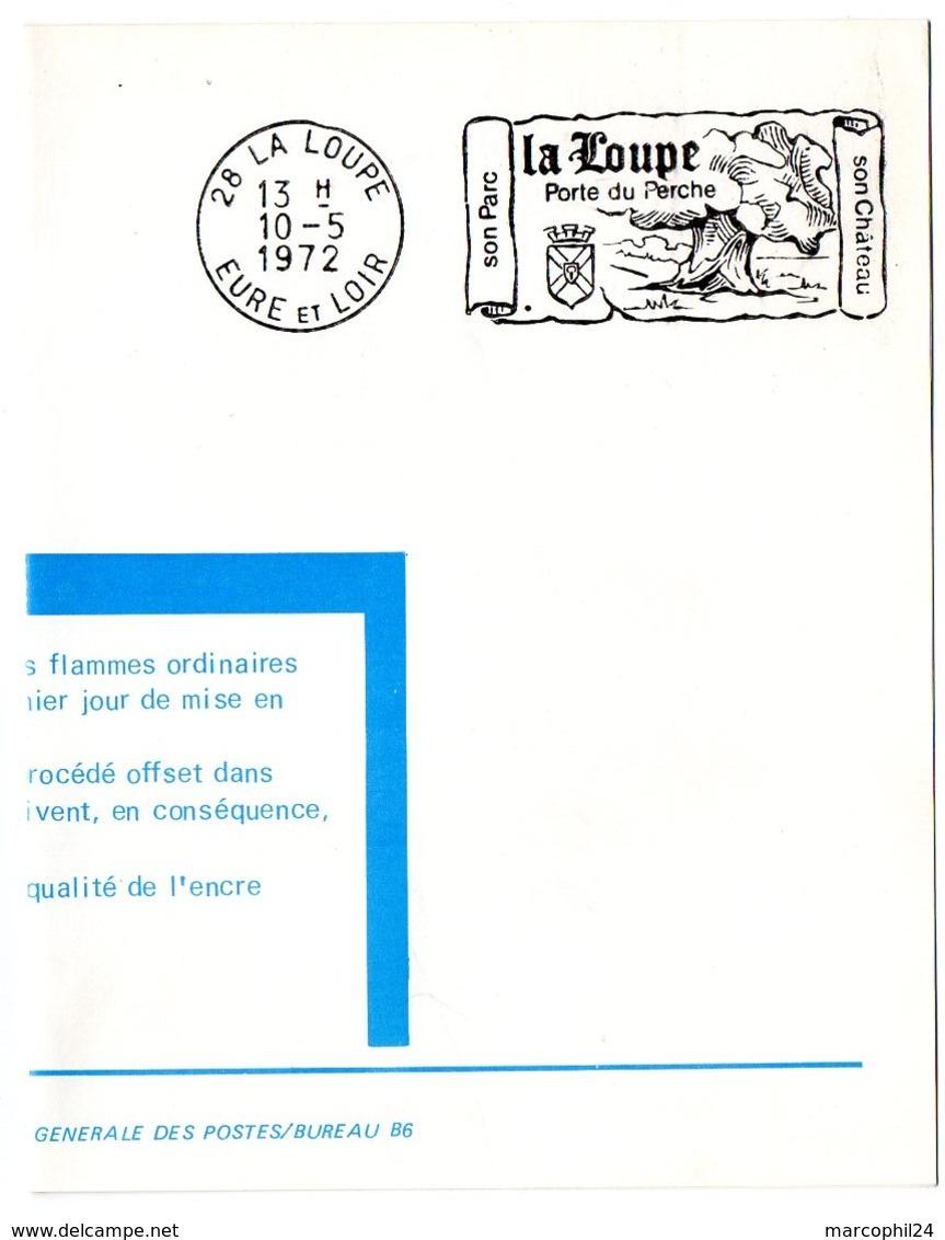 CHATEAU = 28 LA LOUPE 1972 = FLAMME PREMIER JOUR = SECAP Illustrée D' ARMOIRIES + CHENE 'Porte Du PERCHE' - Marcophilie (Lettres)