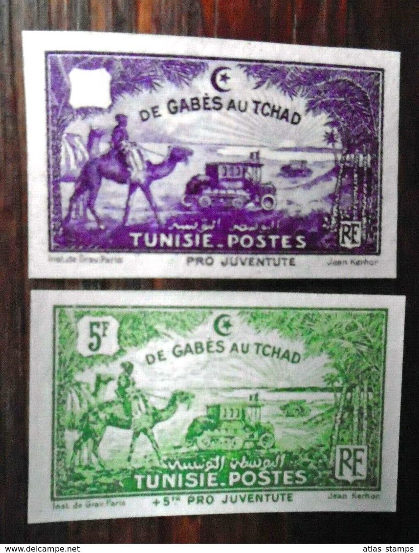 Tunisie 1928 - De Gabès Au Tchad  ,  Yvert# 148 + 153 - 02 Essais  Non Dentelé  - (**) - RARE - Neufs