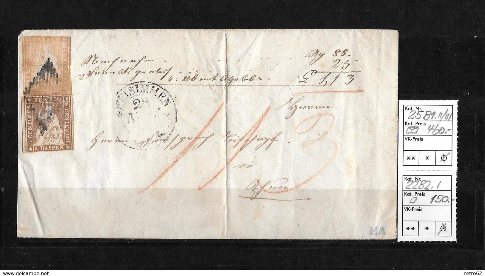 1854-1862 Helvetia (Ungezähnt) Strubel → Rautenentwertung & Rundst. ZWEISIMMEN ►SBK-25B1.II/III & 22B2.I◄ - 1854-1862 Helvetia (Non-dentelés)