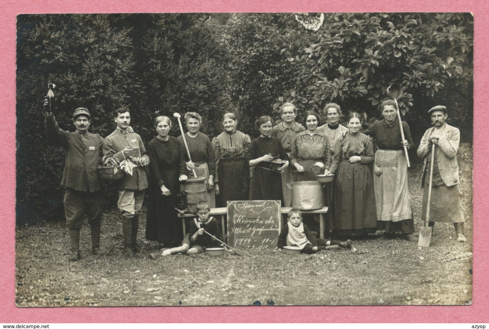67 - ILLKIRCH-GRAFFENSTADEN - Carte Photo - Personal - Kriegsküche - Guerre 14/18 - 3 Scans - Francia