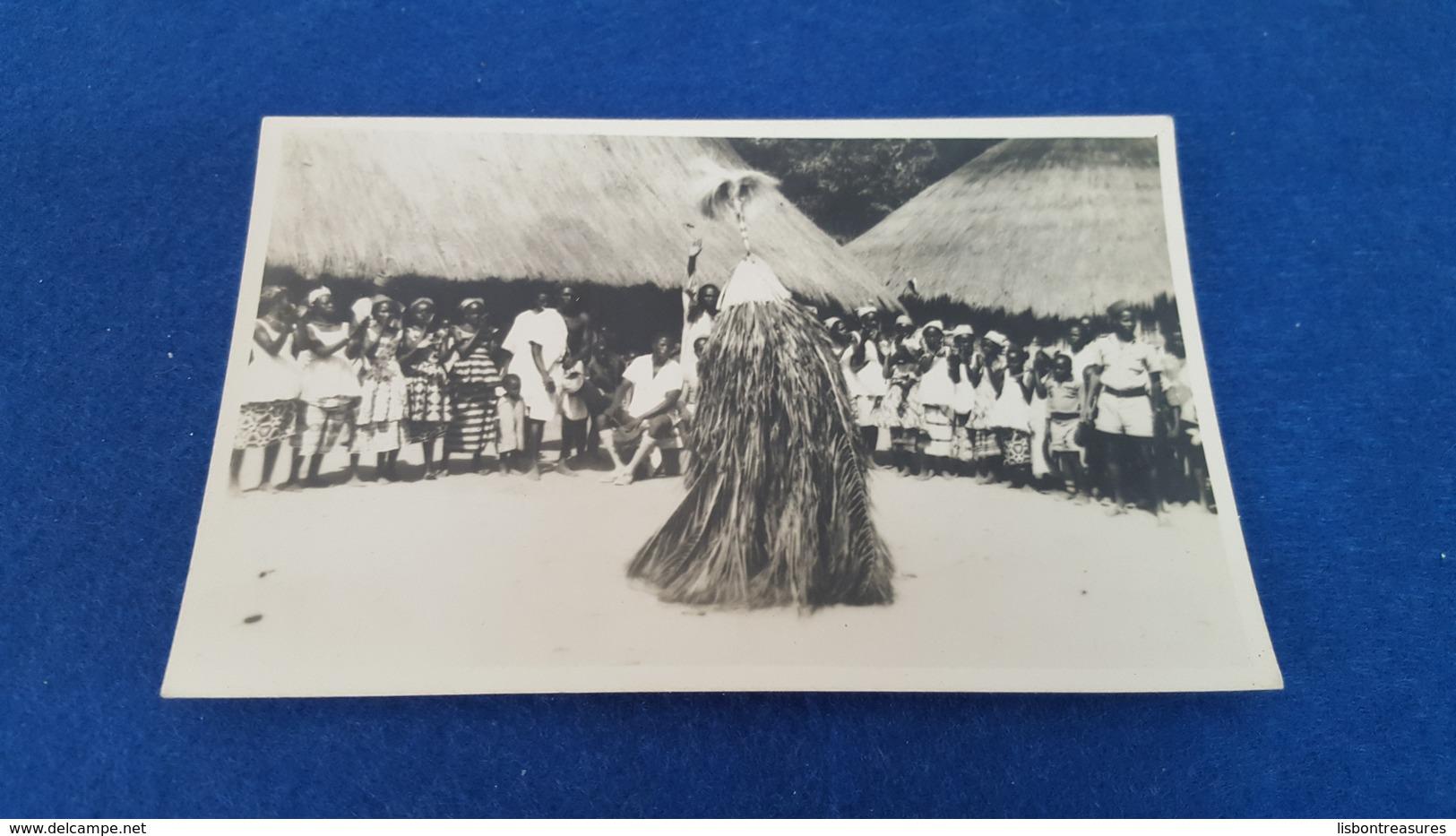 """ANTIQUE PHOTO POSTCARD PORTUGUESE GUINEA  - ETHNOGRAPHIC """" DANÇA DO COMPO - SOSSOS SANCONHA - CACINE """" UNUSED - Guinea-Bissau"""