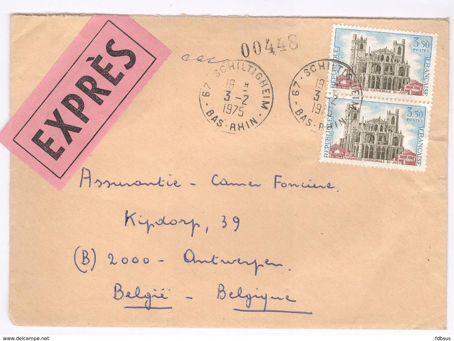 1975 Schiltigheim  Exprès Envelope To Camer Assurance Antwerp - Timbres Narbonne - France