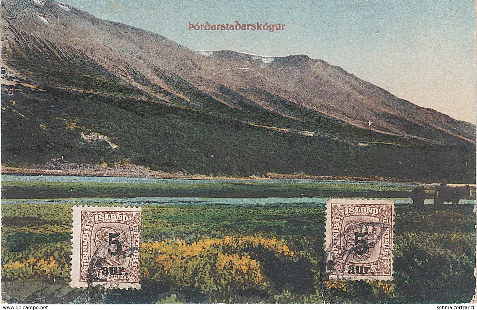 AK Pordarstadarskogur Iceland Island Islande A Reykjavik Stamp Timbre Briefmarke Stimpill Skandinavien Scandinavia - Islande
