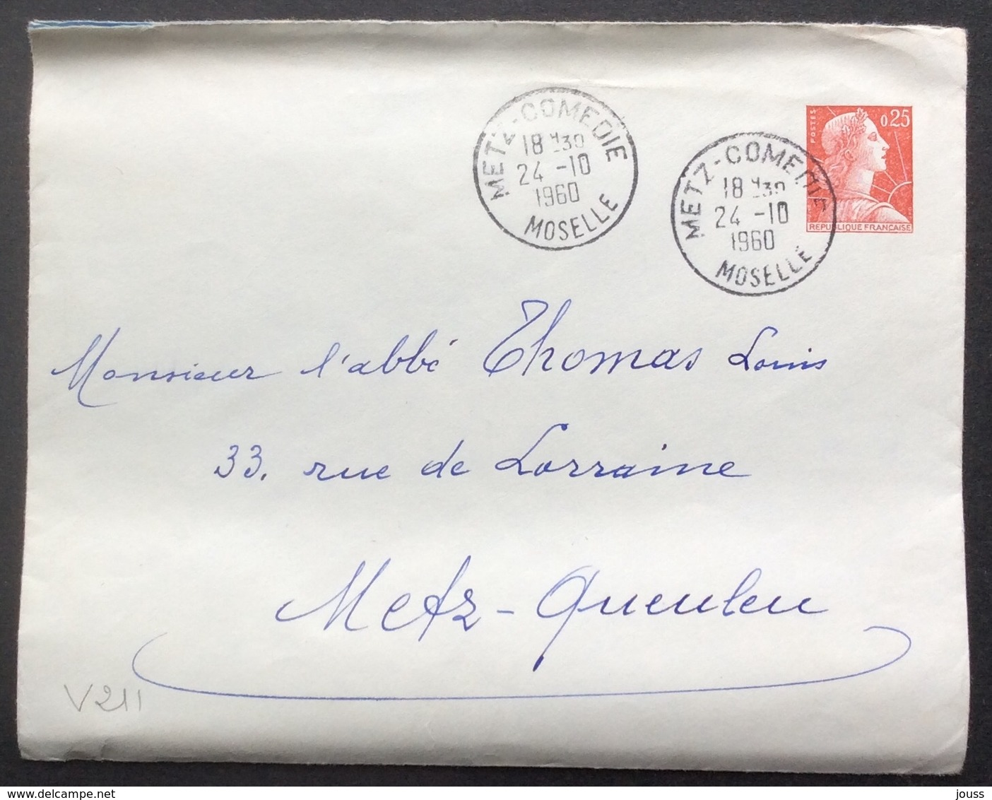 V211 0,25 Marianne Muller Metz-Comédie Moselle 24/10/1960 - Entiers Postaux