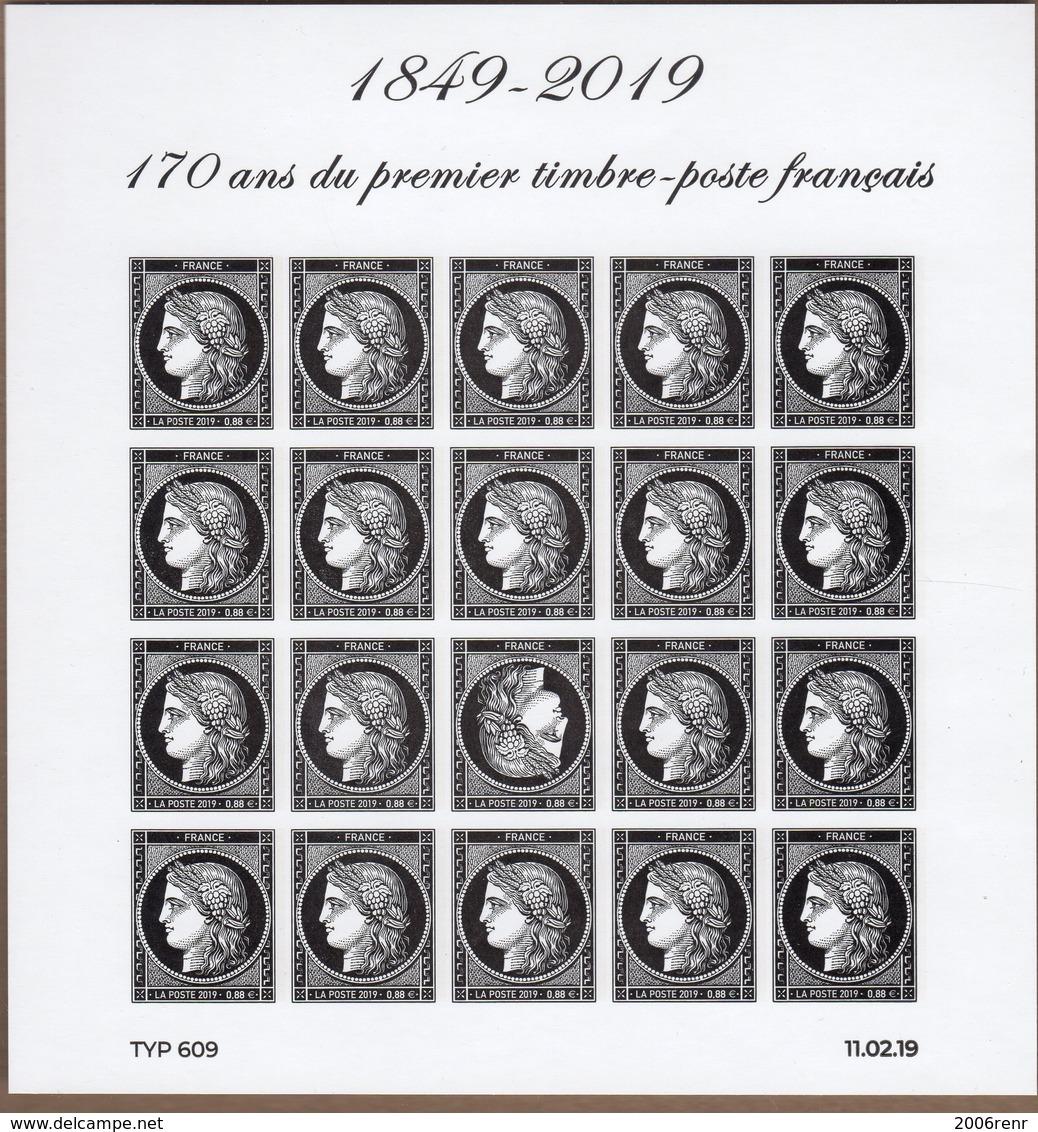 BLOC FEUILLET 1849-2019 170ème Anniversaire Du 1er Timbre De France (ND Avec Tête Bêche) CERES NEUF** TRES BEAU VOIR. - Blocks & Kleinbögen