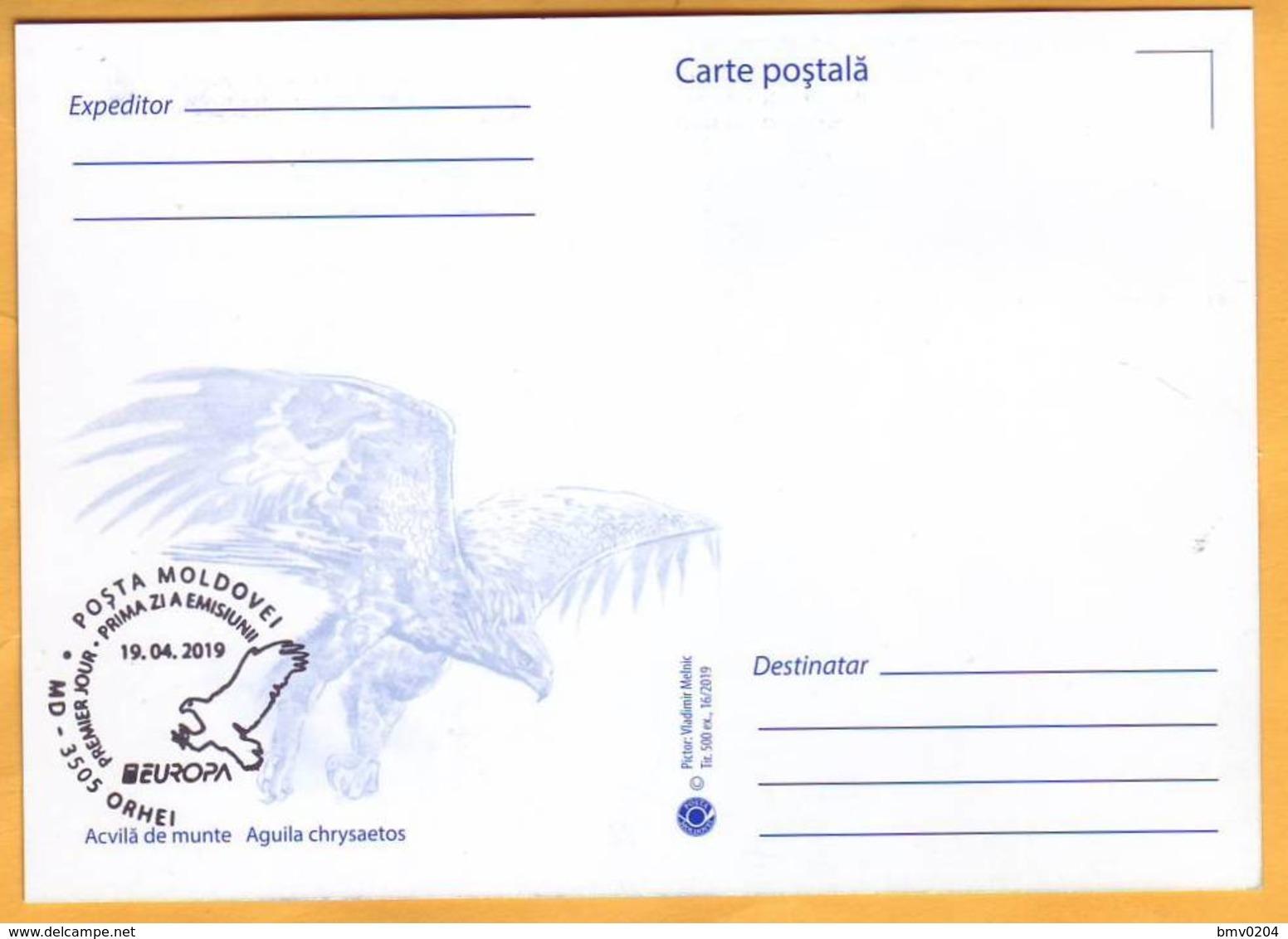 2019 Moldova Moldavie Maxicard Europa-cept  Fauna, Birds, Eagles - Eagles & Birds Of Prey