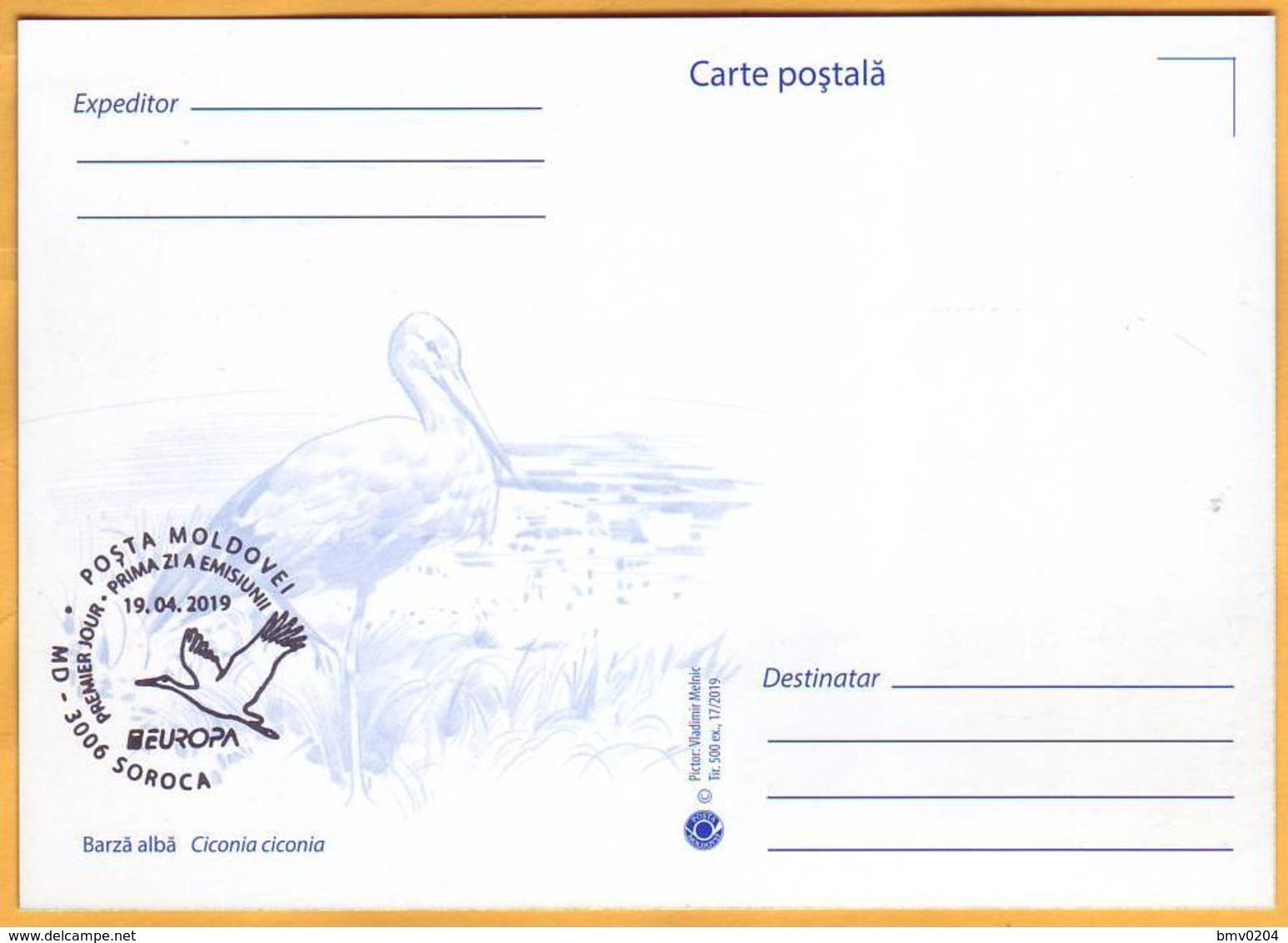 2019 Moldova Moldavie Maxicard  Europa-cept  Fauna, Birds, Storks - Storks & Long-legged Wading Birds