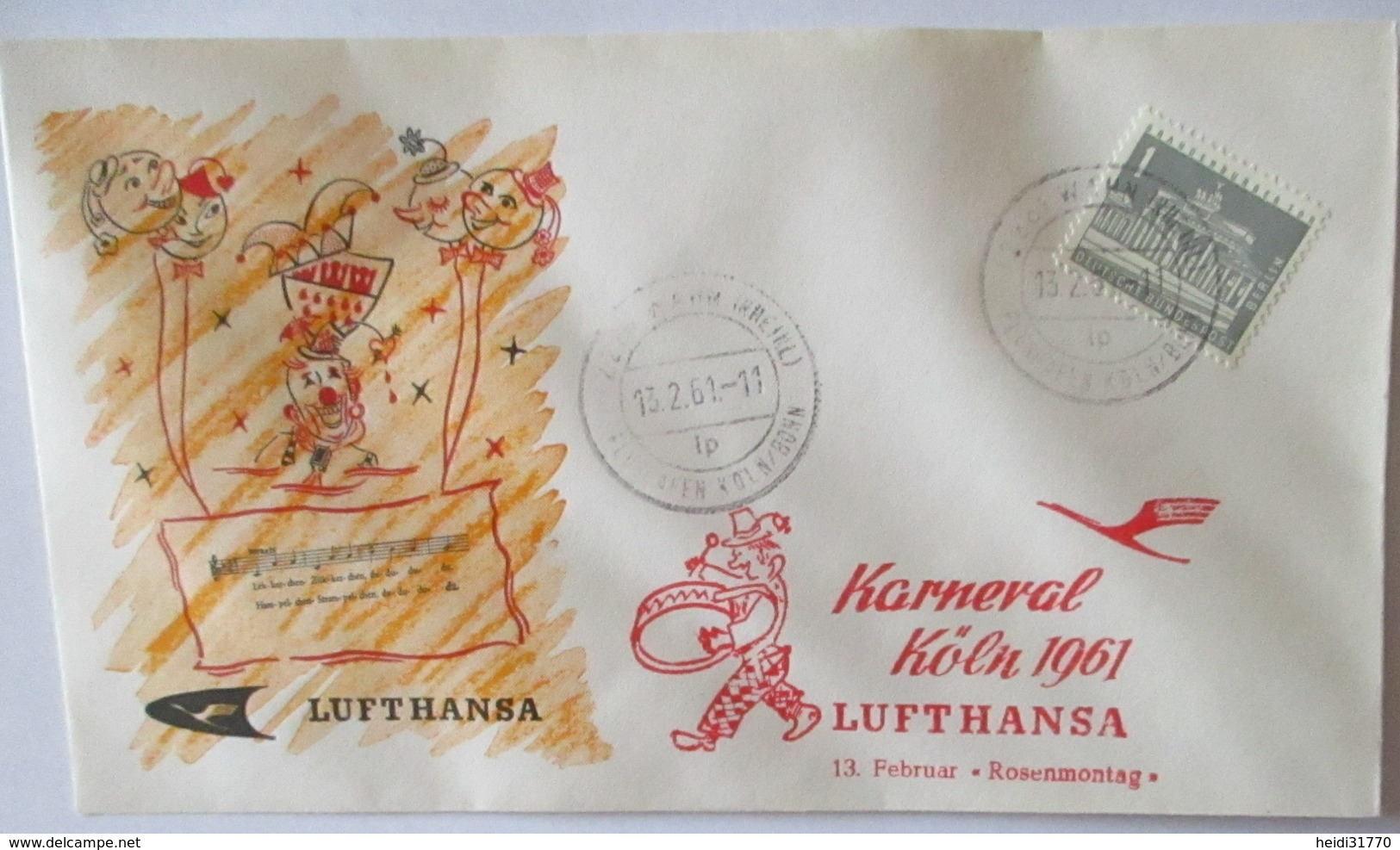 Köln Karneval 1961 Lufthansa Sonderbrief (19144) - Kostüme