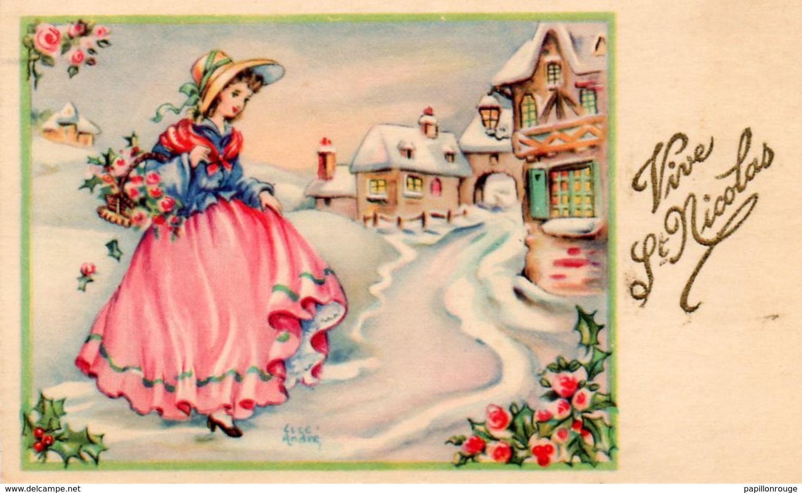 CP.  Mignonnette  Vive Saint Nicolas. Enfant. Signée Luce André - Nouvel An