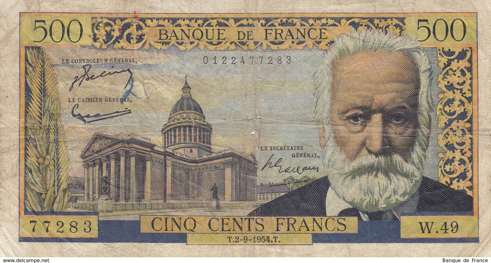 Billet 500 F Victor Hugo Du 2-9-1954 FAY 35.03 Alph. W.49 - 1871-1952 Circulated During XXth