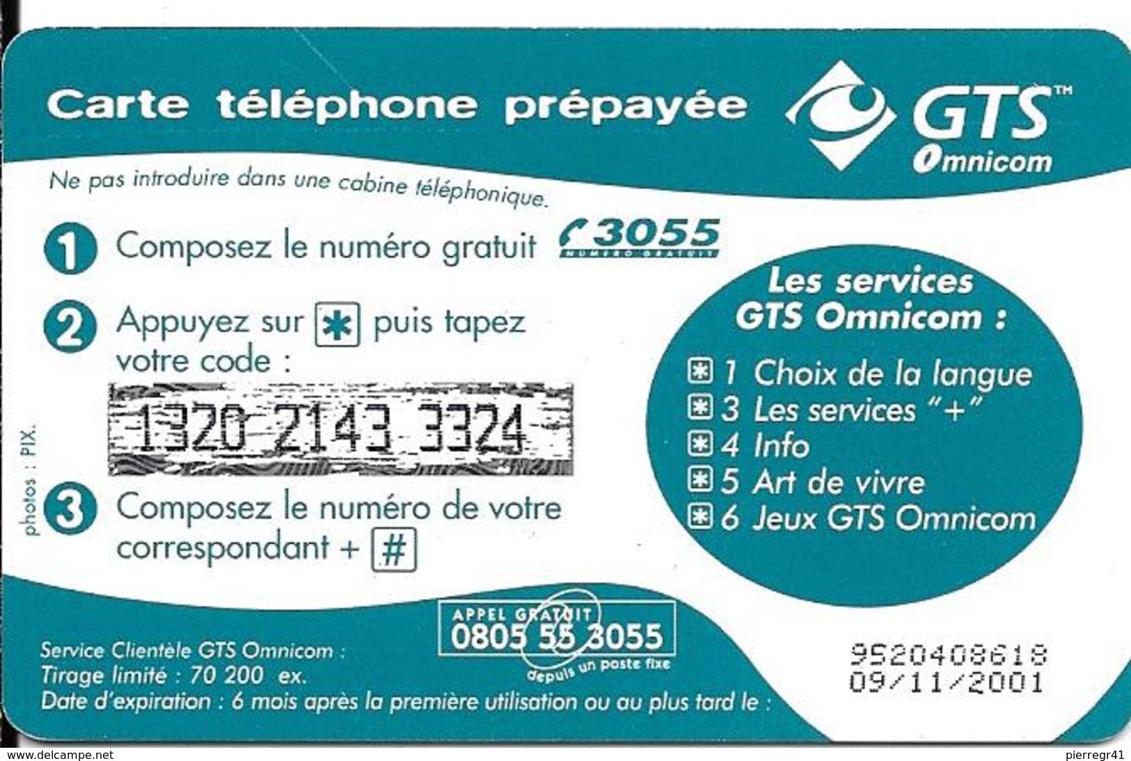 CARTE PREPAYEE-OMNICOM-50F-CONFORT-09/11/2001-70200Ex -TBE - Autres Prépayées