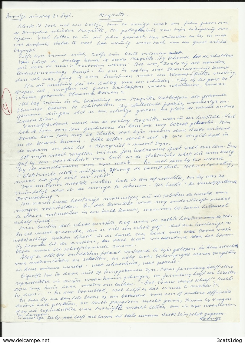 Magritte - Boontje Van Louis Paul Boon - Manuscripten