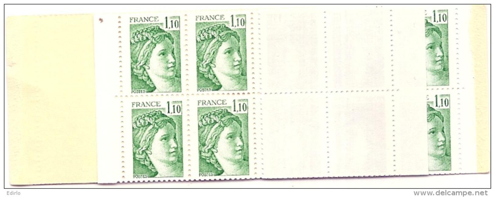 Carnet Usage Courant De 20 Sabine De Gandon 2058C1  Gomme Brillante Code Postal (381) Côte 23&euro Impression Verte - Carnets