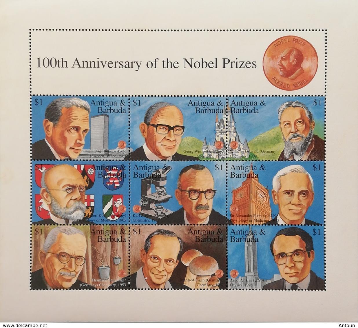 Antigua 1995 Establisfment Of Nobel Prize Fund, Cent.Sheet Of Nine - Antillen
