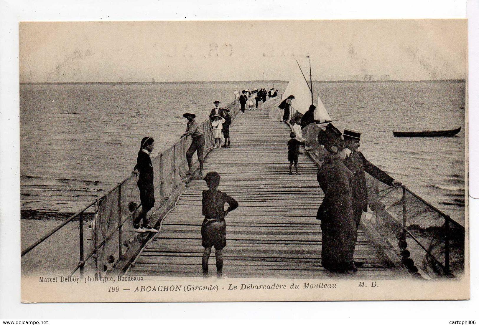 - CPA ARCACHON (33) - Le Débarcadère Du Moulleau (belle Animation) - Photo Marcel Delboy 199 - - Arcachon