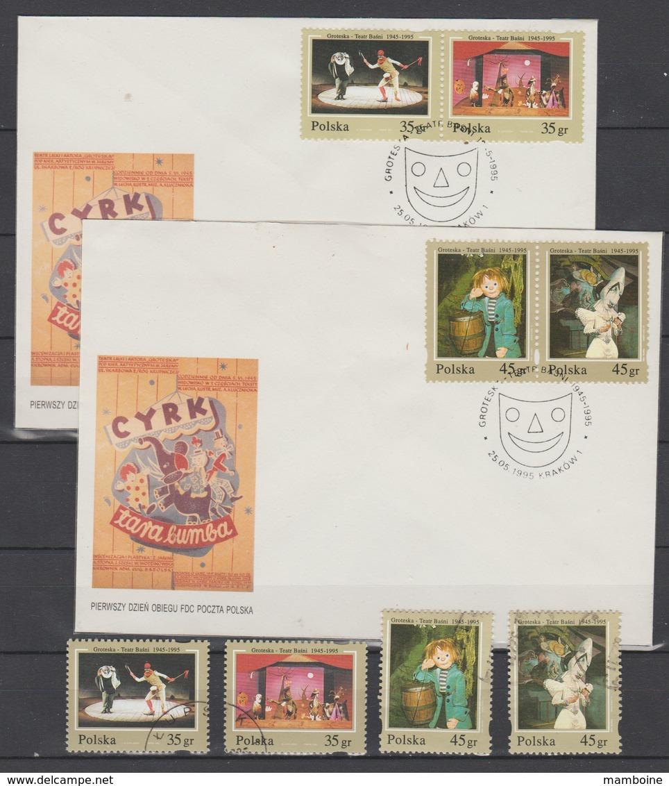 Pologne  1995    N° 3329 / 32  + 2 Enveloppes 1° J = Oblitéré CIRQUE - 1944-.... République