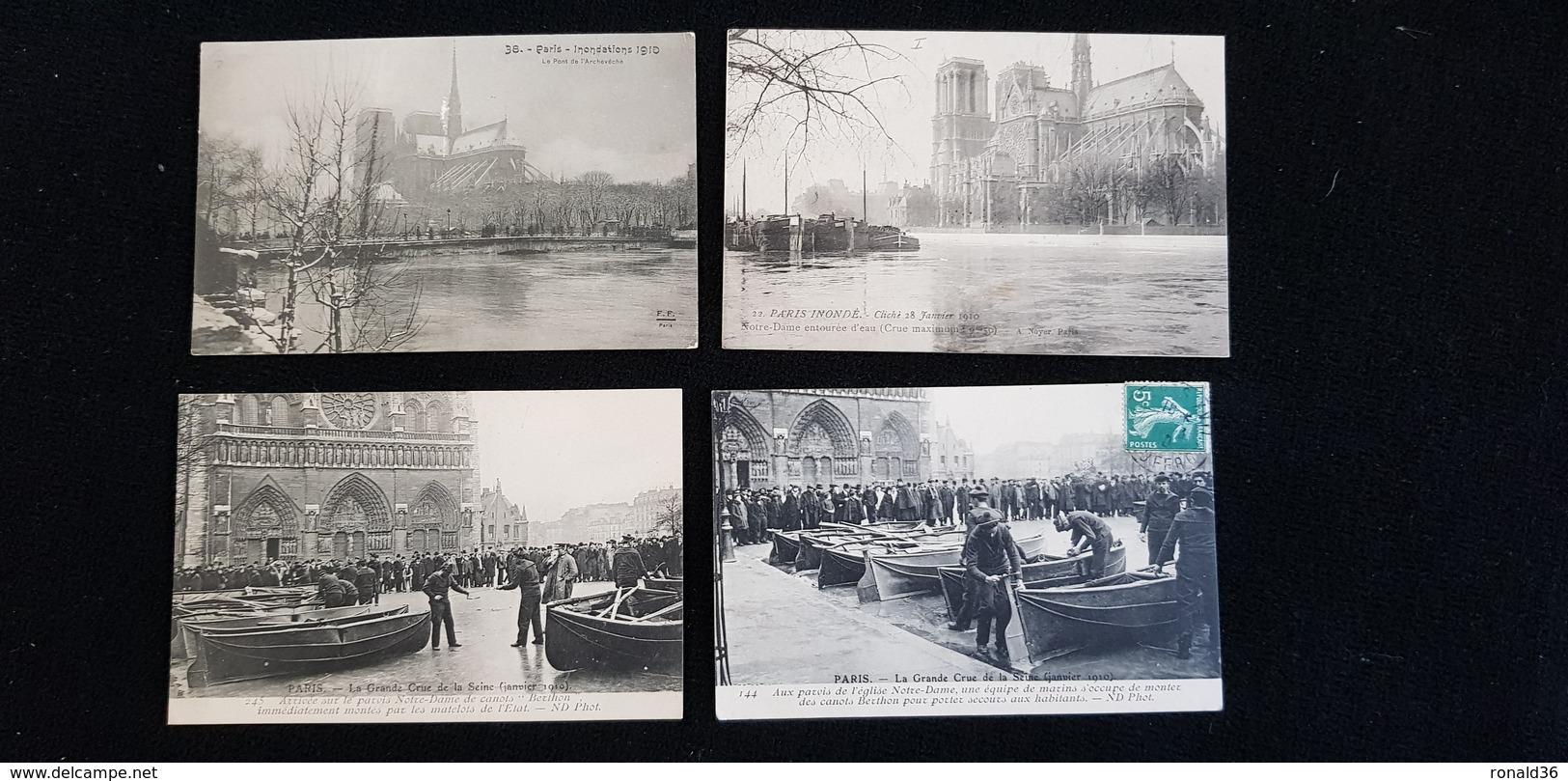4 Cp 75 PARIS Inondé église Cathédrale Notre Dame N D De Paris Facade Rosace Tours Flèche Abside Crue 1910 Inondations - Notre Dame De Paris