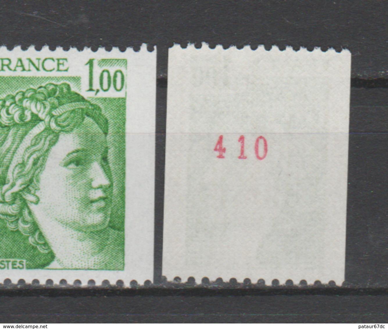 FRANCE / 1978 / Y&T N° 1981Aa ** : Sabine 1F Vert Roulette (n° Rouge) - Gomme D'origine Intacte - Neufs