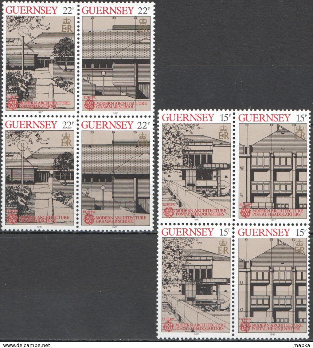 S379 1987 GUERNSEY EUROPA CEPT MODERN ARCHITECTURE SCHOOL POSTAL !!! 4SET MNH - Europa-CEPT