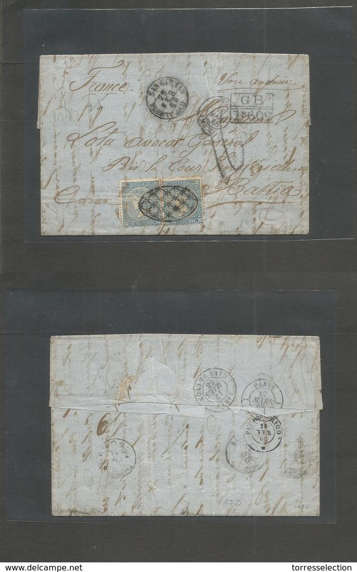 PUERTO RICO - 1868 (25 Febr) San German - Isla De Corcega, Bastia, France (17 Marzo) Carta Completa Franqueo Isabel II 1 - Puerto Rico