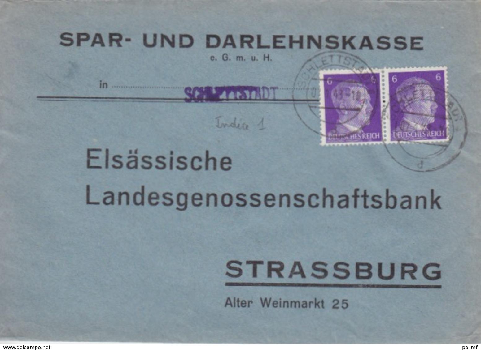 P Lettre à Entête (S.u.D. Schlettstadt) Obl Sélestat (T326 Schlettstadt 1d) Sur TP Reich 6pfx2=1°éch Le 7/1/43 - Postmark Collection (Covers)