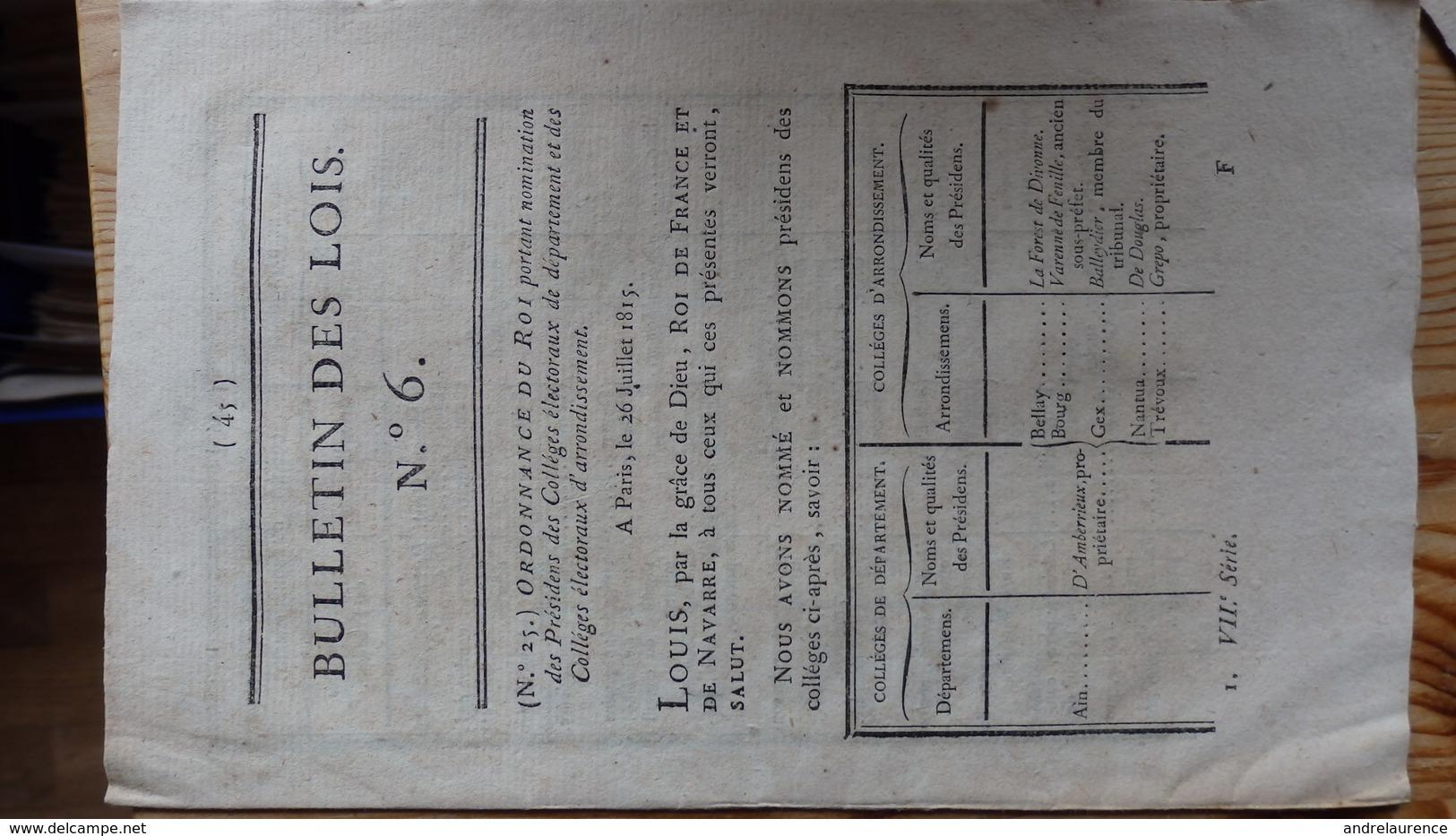 1815   Bulletin Des Lois N° 6      Nominations - Décrets & Lois