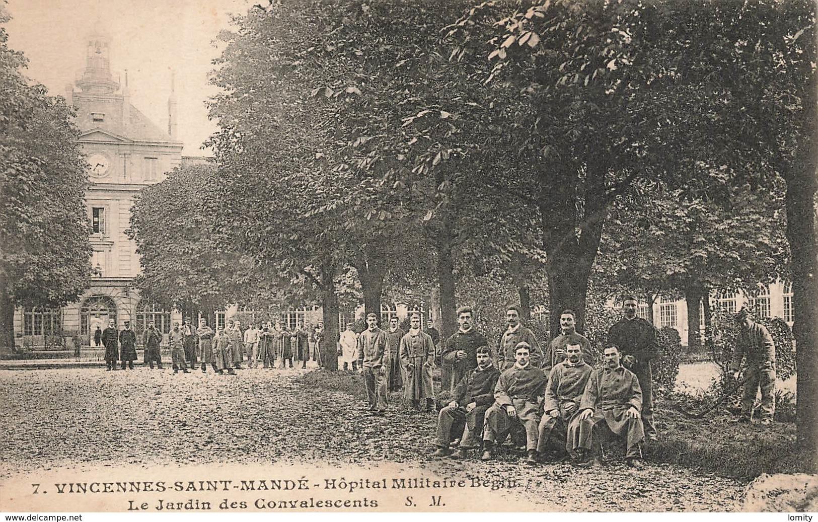 94 Saint Mandé Hopital Militaire Begin Le Jardin Des Convalescents Carte Ecrite En 1916 Cpa Carte Animée Belle Animation - Saint Mande