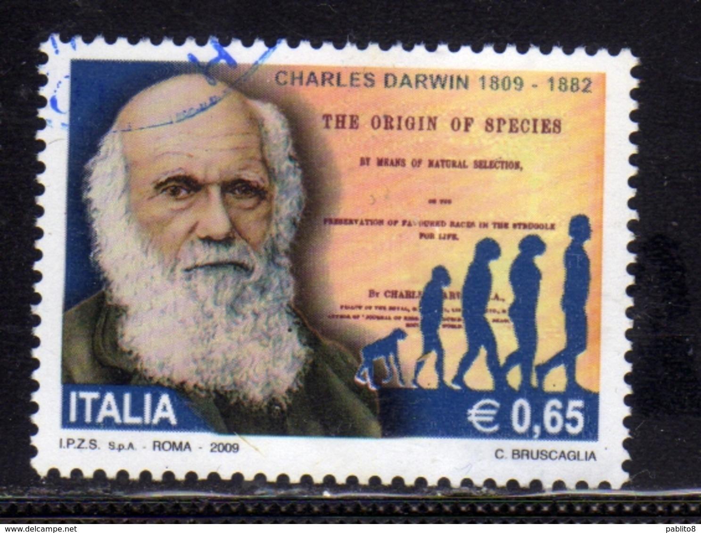 ITALIA REPUBBLICA ITALY REPUBLIC 2009 CHARLES DARWIN € 0,65 USATO USED OBLITERE' - 2001-10: Used