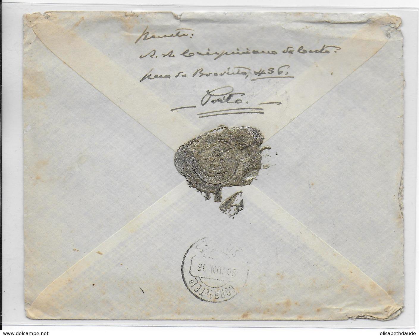 PORTUGAL - 1936 - ENVELOPPE RECOMMANDEE De S.BENTO => SINFOES - Lettres & Documents