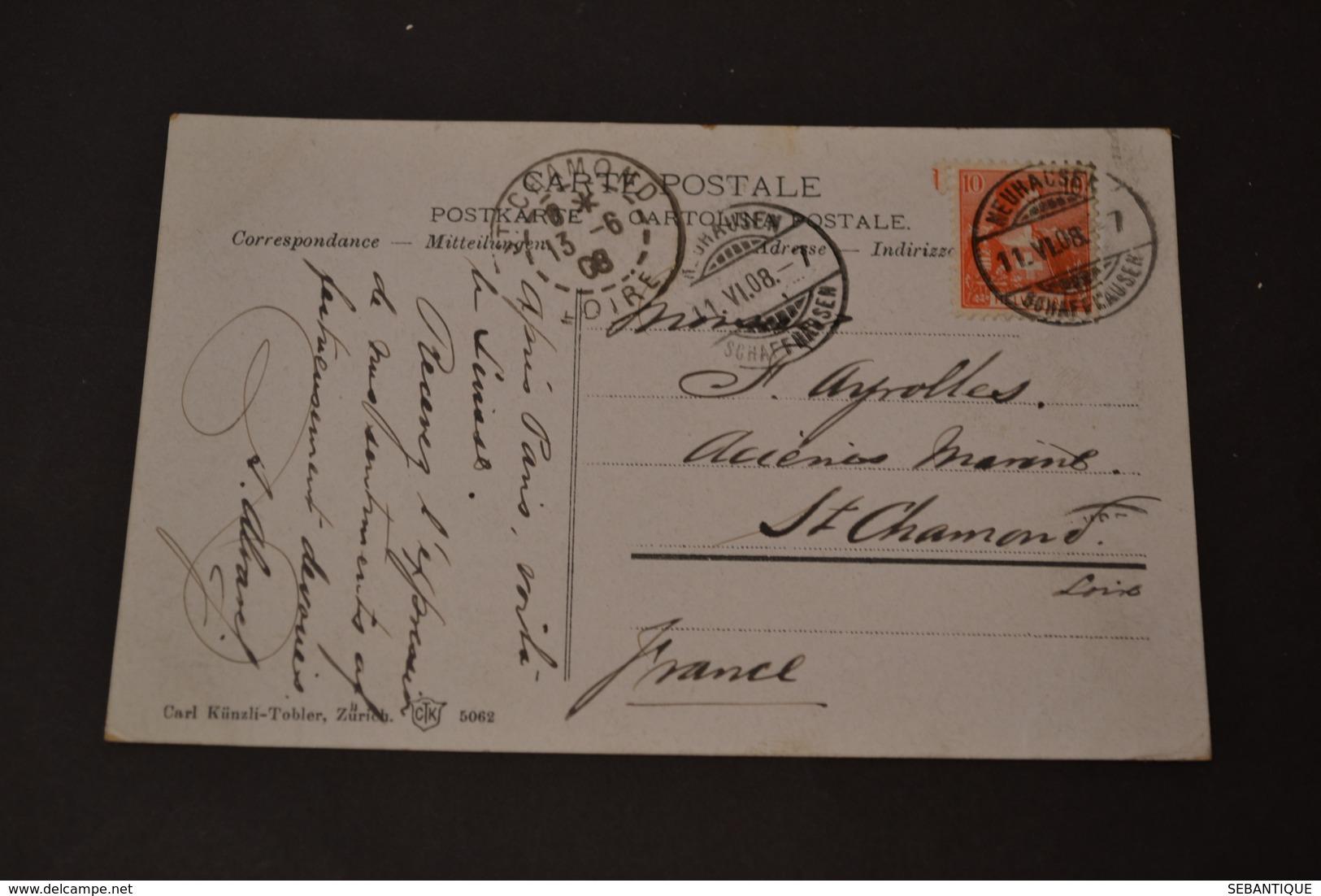 Carte Postale 1908 Suisse Rheinfall Und Schloss Laufen - Suisse