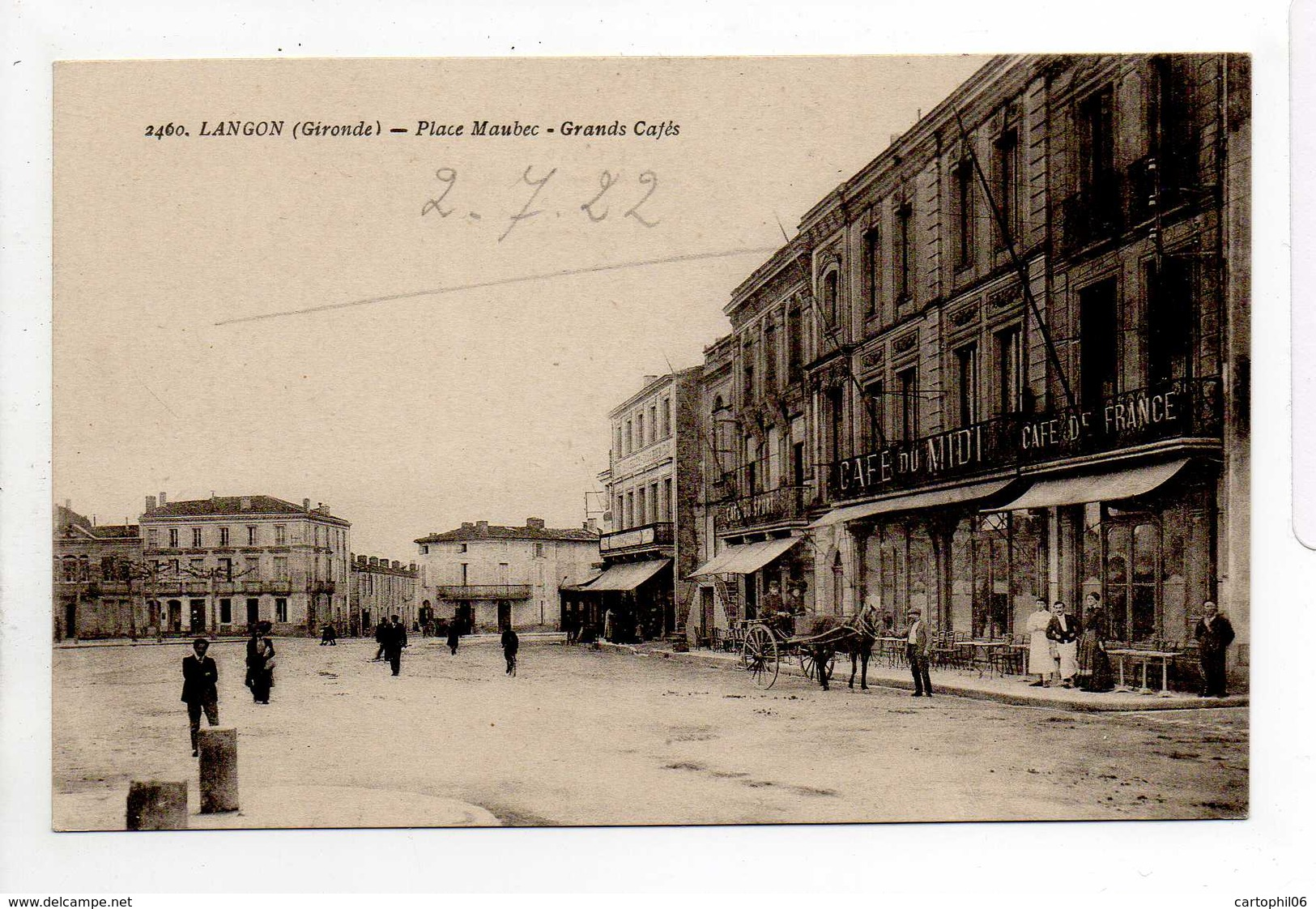 - CPA LANGON (33) - Place Maubec 1922 - Grands Cafés (avec Personnages) - Photo Goutreau 2460 - - Langon