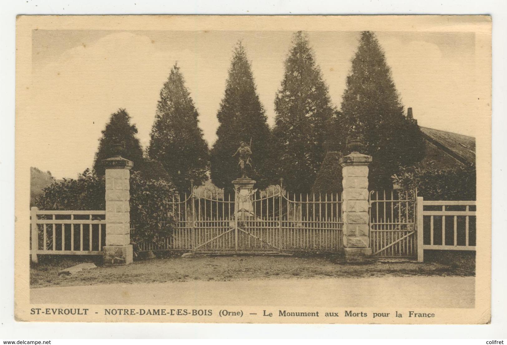 61 - St-Evroult  -  Notre-Dame-des-Bois -            Le Monument Aux Morts - Other Municipalities