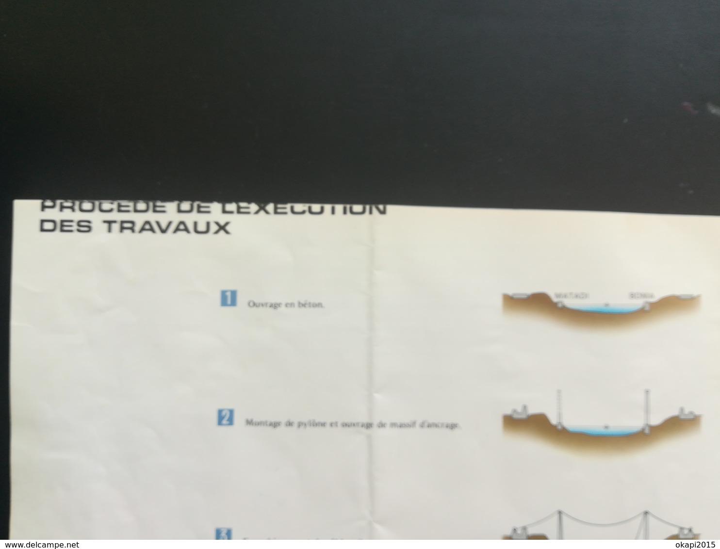 PONT SUR LE FLEUVE ZAÏRE À MATADI VIEUX DÉPLIANT PRÉSENTATION DU PONT + LOT 6 PHOTOS COULEURS TOURISTE GUIDE JAPONAIS - Oggetti 'Ricordo Di'