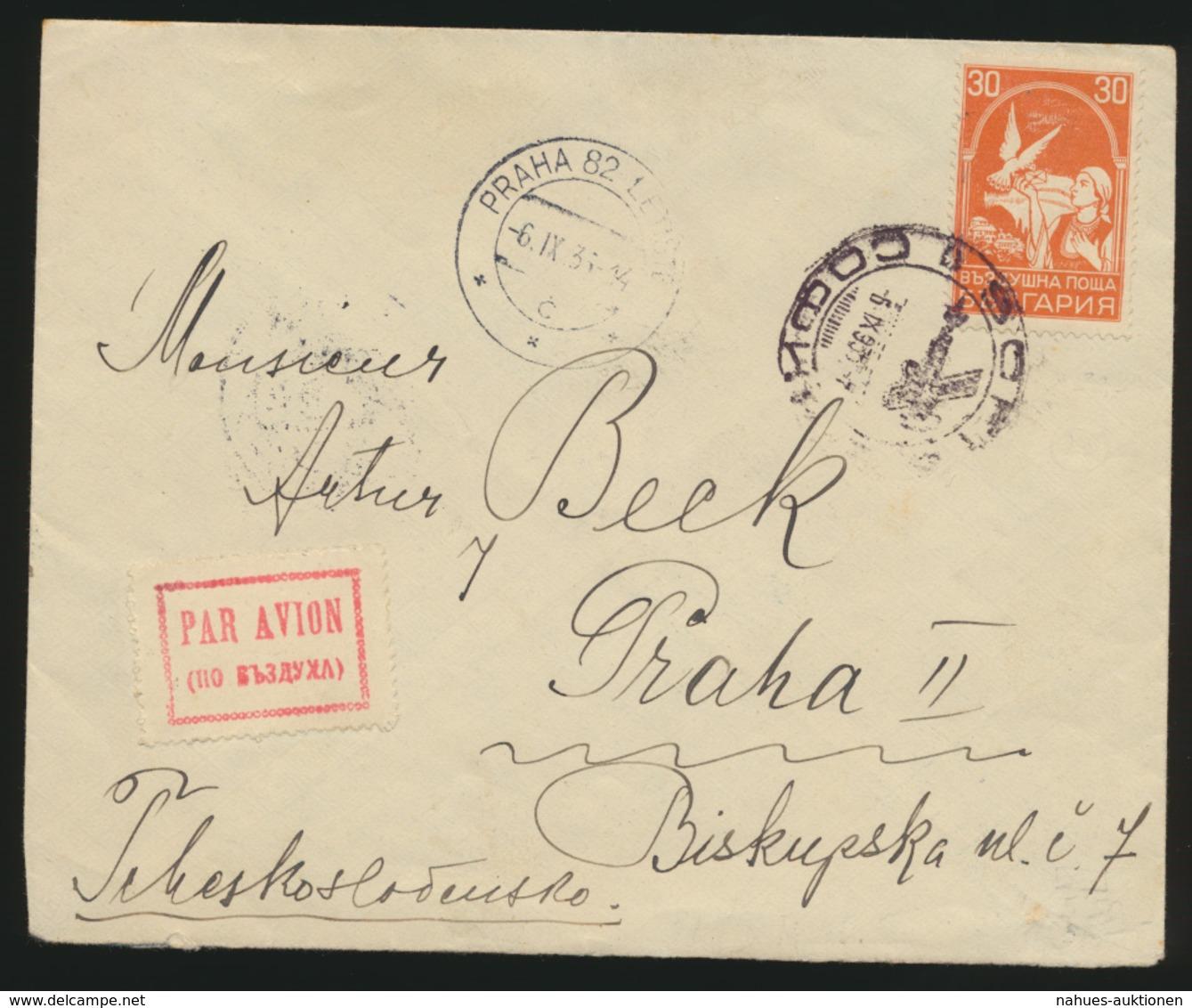 Bulgarien Flugpost Brief Nach Prag Tschechoslowakei 6.9.1935 - Ohne Zuordnung