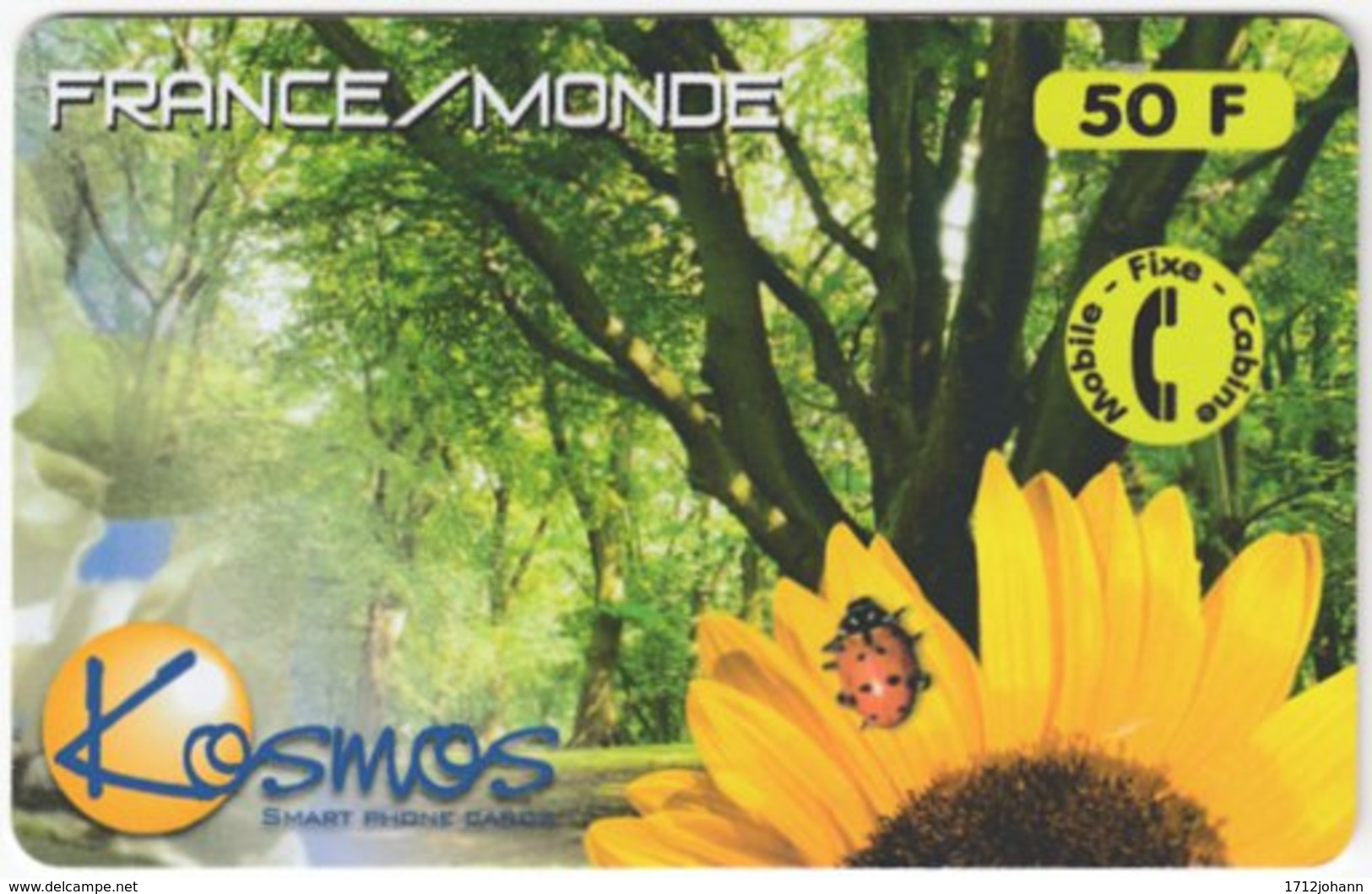 FRANCE C-459 Prepaid Kosmos - Plant, Flower, Animal, Ladybird - Used - Frankreich