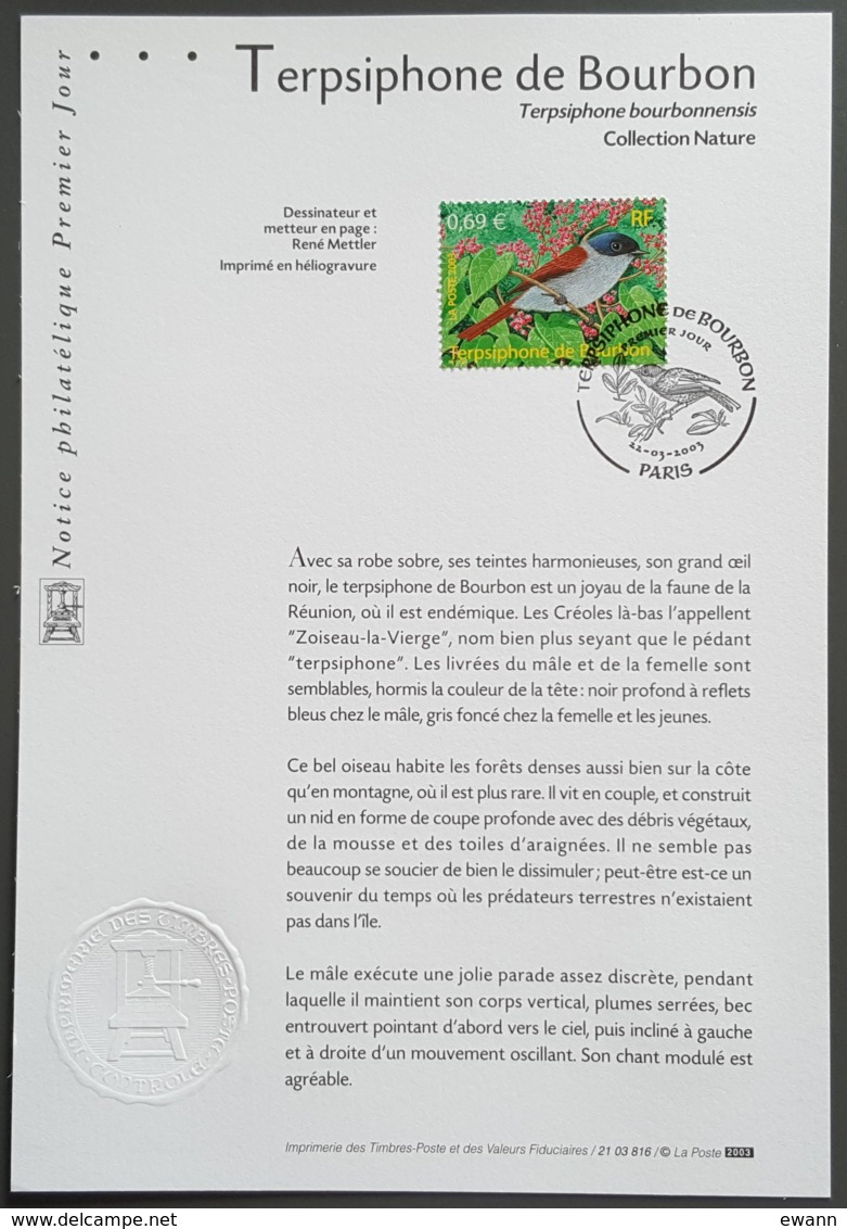 FDC Sur Document - YT N°3551 - Nature De France / Oiseaux / Terpsiphone De Bourbon - 2003 - FDC