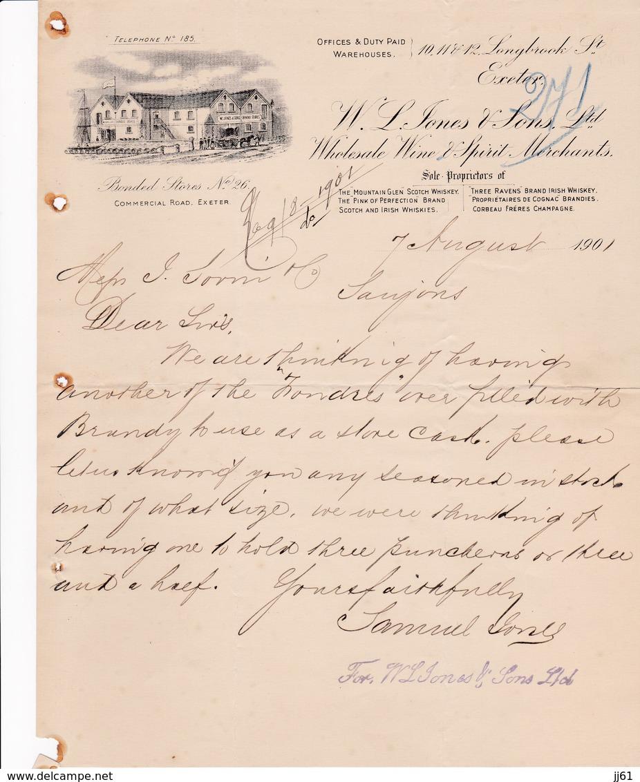EXETER BONDED STORES SONES SONS WHOLESALE WINE SPIRIT MERCHANTS ANNEE 1901 - Royaume-Uni
