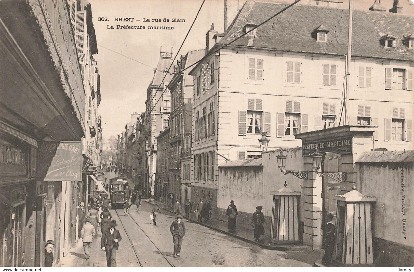 Tram Tramway Brest La Rue De Siam La Préfecture Maritime Cpa Carte Animée - Tramways