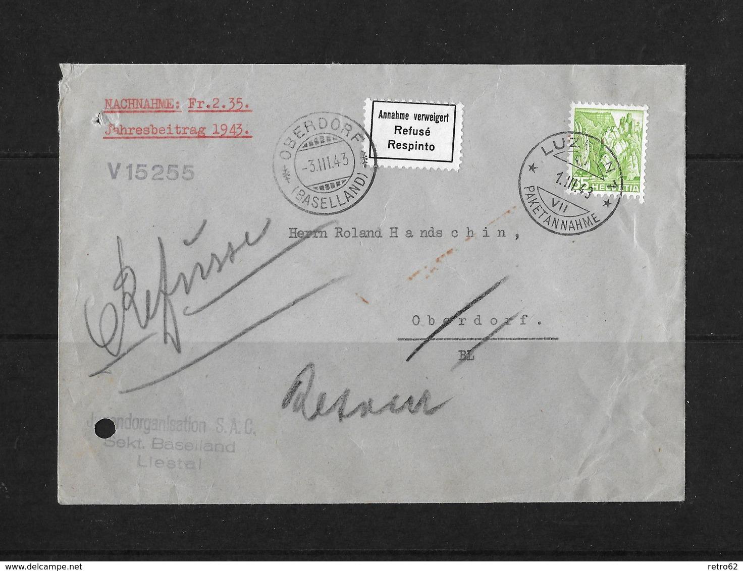 HEIMAT BASELLAND → 1943 Liestal Jugendorganisation S.A.C. Verweigerte Nachnahme - Suisse