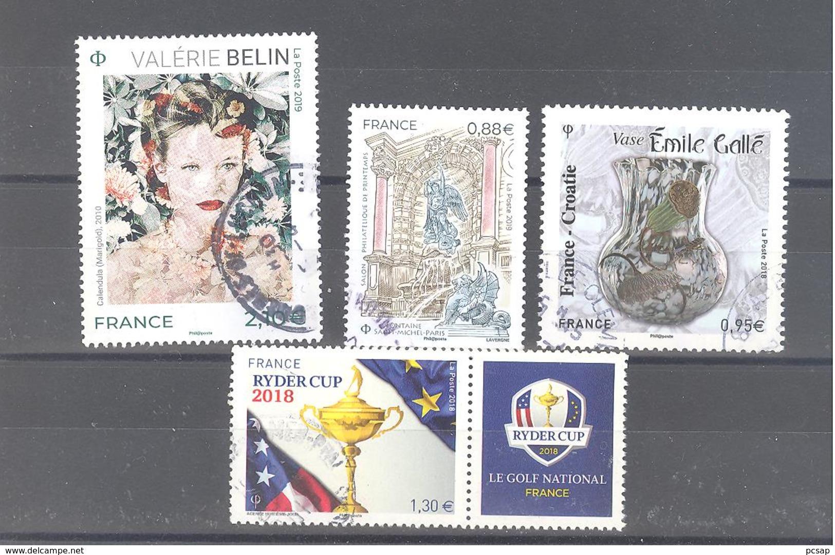 France Oblitérés : Valérie Belin - Fontaine St-Michel Paris - N°5245 & 5275 (cachet Rond) - France